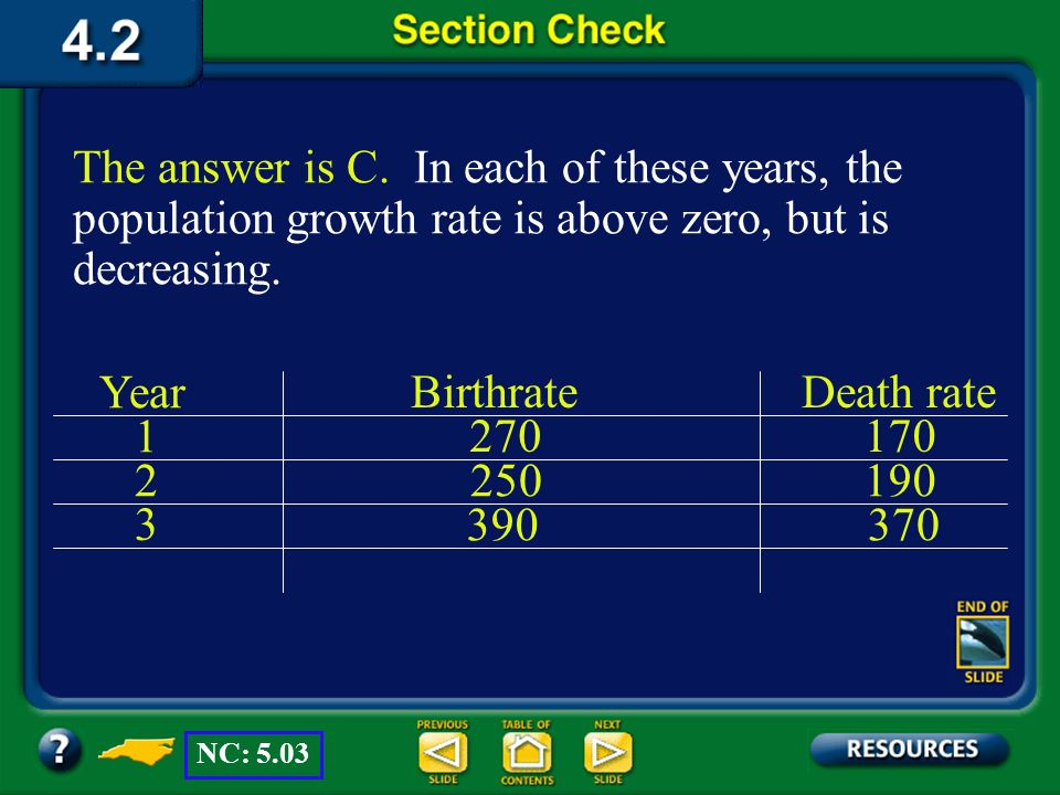 Section 2 Check Question 2 D. Declining at a decreasing rate each year C. Growing at a decreasing rate each year B. Declining at a greater rate each y