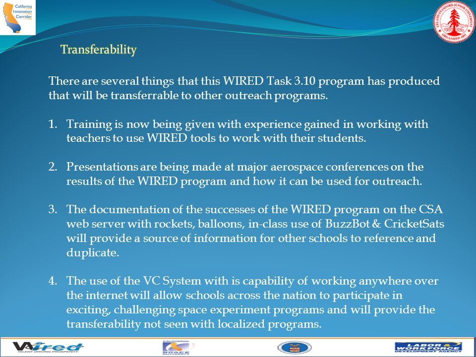 There are several things that this WIRED Task 3.10 program has produced that will be transferrable to other outreach programs.
