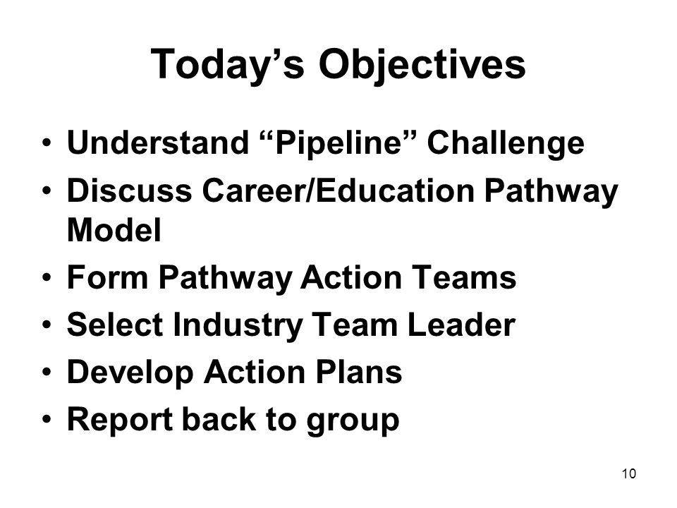 10 Todays Objectives Understand Pipeline Challenge Discuss Career/Education Pathway Model Form Pathway Action Teams Select Industry Team Leader Develop Action Plans Report back to group