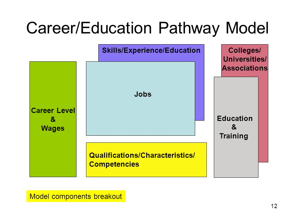 12 Career Level & Wages Qualifications/Characteristics/ Competencies Skills/Experience/EducationColleges/ Universities/ Associations Jobs Education & Training Career/Education Pathway Model Model components breakout