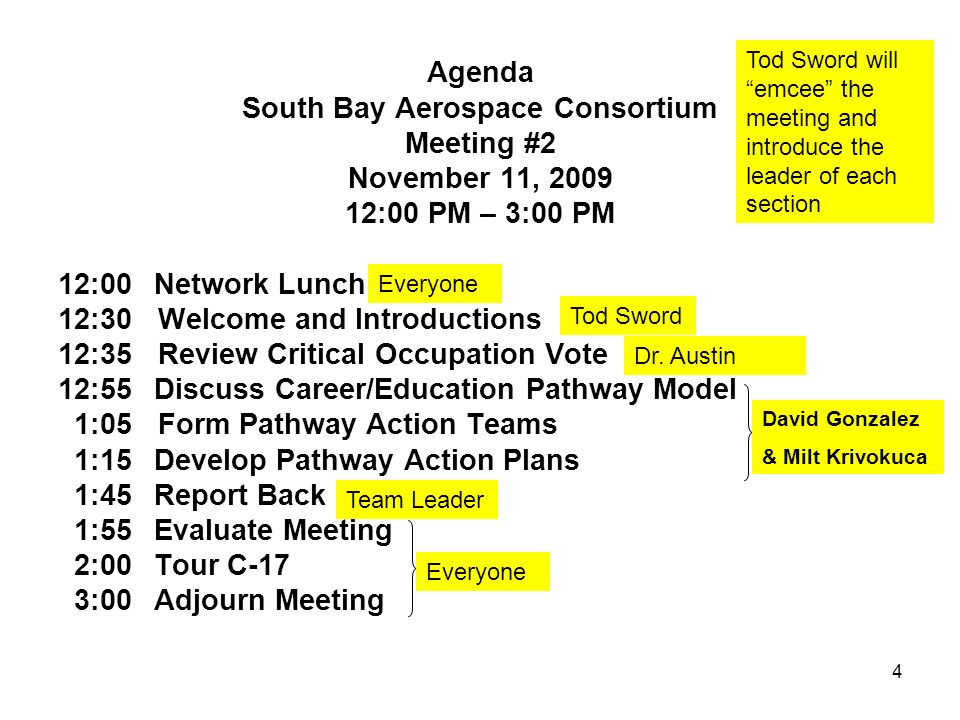 4 Agenda South Bay Aerospace Consortium Meeting #2 November 11, 2009 12:00 PM – 3:00 PM 12:00Network Lunch 12:30 Welcome and Introductions 12:35 Review Critical Occupation Vote 12:55Discuss Career/Education Pathway Model 1:05 Form Pathway Action Teams 1:15Develop Pathway Action Plans 1:45Report Back 1:55Evaluate Meeting 2:00Tour C-17 3:00Adjourn Meeting Tod Sword will emcee the meeting and introduce the leader of each section Tod Sword Dr.