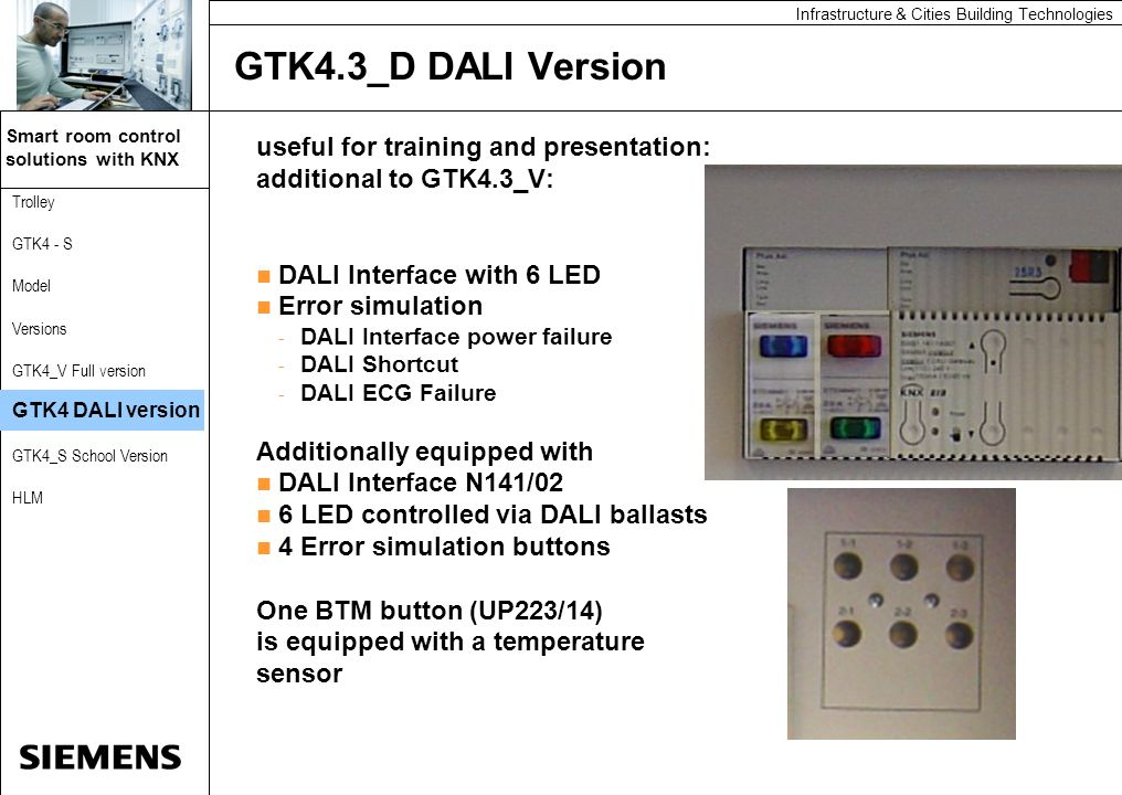Automation and Drives Smart room control solutions with KNX Automation and Drives Infrastructure & Cities Building Technologies Trolley GTK4 - S Model