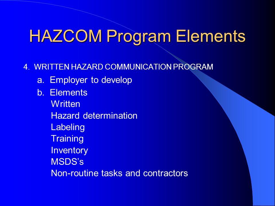 HAZCOM Program Elements 4. WRITTEN HAZARD COMMUNICATION PROGRAM a.