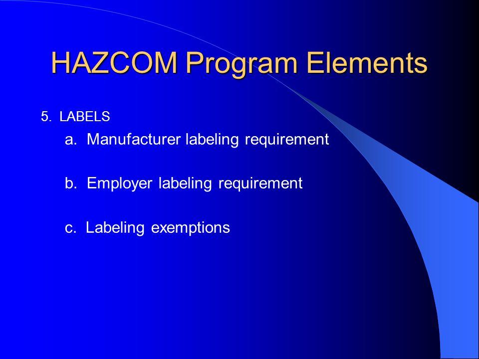 HAZCOM Program Elements 5. LABELS a. Manufacturer labeling requirement b.
