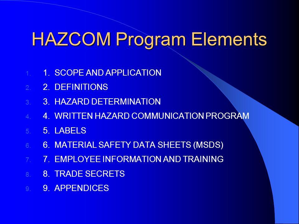 HAZCOM Program Elements 1. 1. SCOPE AND APPLICATION 2.
