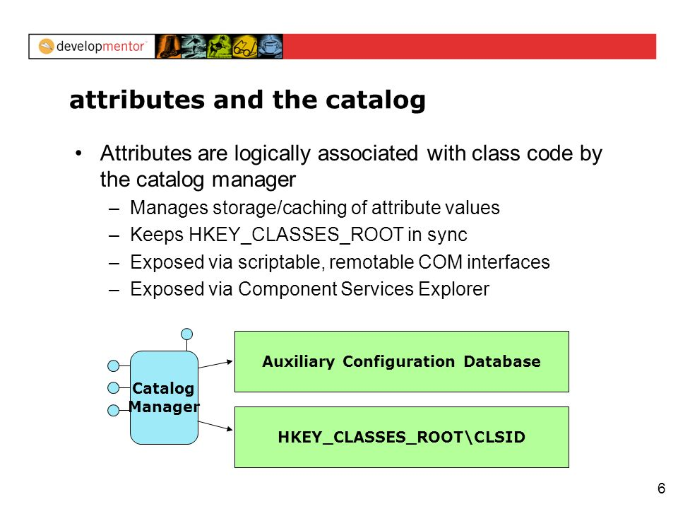 6 attributes and the catalog Attributes are logically associated with class code by the catalog manager –Manages storage/caching of attribute values –Keeps HKEY_CLASSES_ROOT in sync –Exposed via scriptable, remotable COM interfaces –Exposed via Component Services Explorer Catalog Manager HKEY_CLASSES_ROOT\CLSID Auxiliary Configuration Database