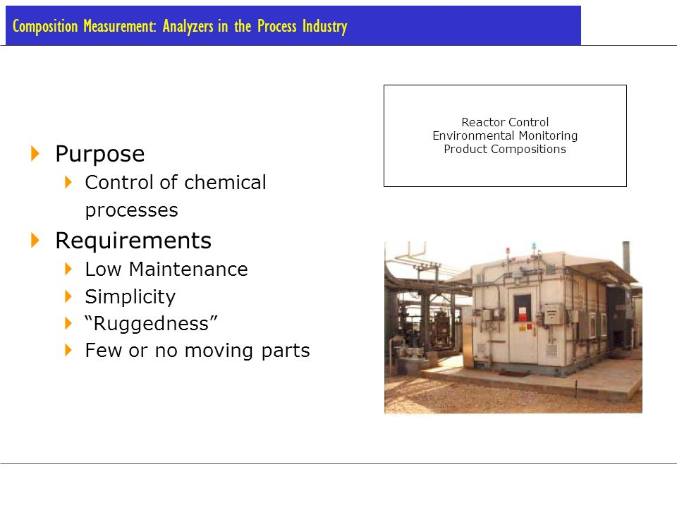 Challenges in Analyzer Design Exposure to corrosive environments Must withstand non-ideal concentrations of secondary components Maintenance only once every few months Reliability is key