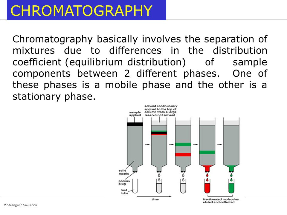Modelling and Simulation CHROMATOGRAPHY Chromatography basically involves the separation of mixtures due to differences in the distribution coefficien