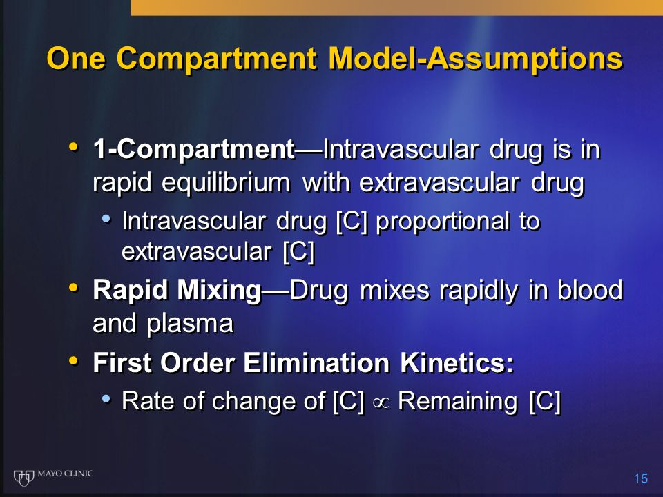 15 One Compartment Model-Assumptions 1-CompartmentIntravascular drug is in rapid equilibrium with extravascular drug Intravascular drug [C] proportion