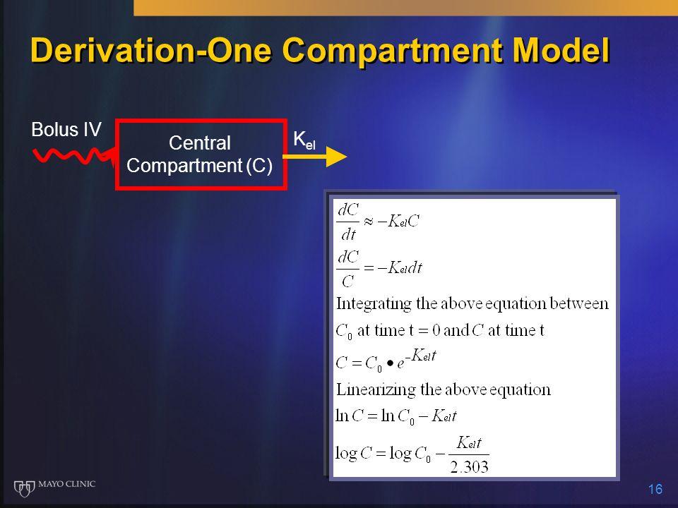 16 Derivation-One Compartment Model Bolus IV K el Central Compartment (C)