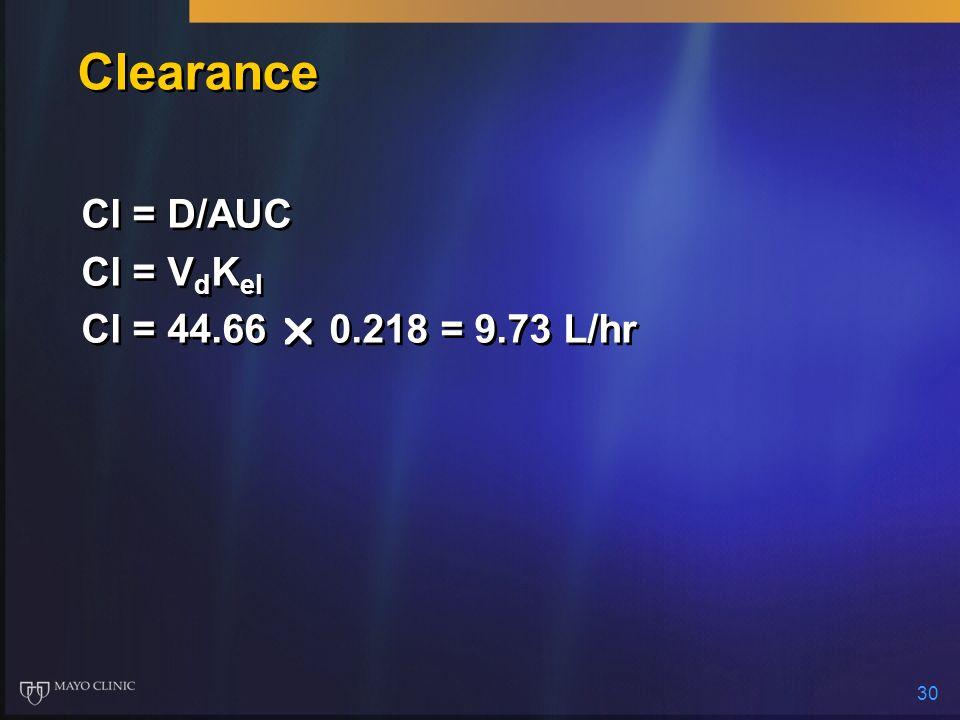 30 Clearance Cl = D/AUC Cl = V d K el Cl = 44.66 0.218 = 9.73 L/hr Cl = D/AUC Cl = V d K el Cl = 44.66 0.218 = 9.73 L/hr