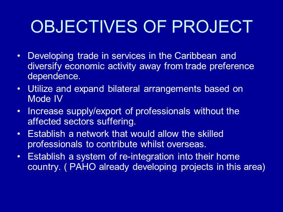 OBJECTIVES OF PROJECT Developing trade in services in the Caribbean and diversify economic activity away from trade preference dependence. Utilize and