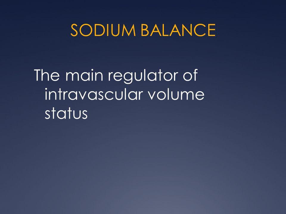 SODIUM BALANCE The main regulator of intravascular volume status