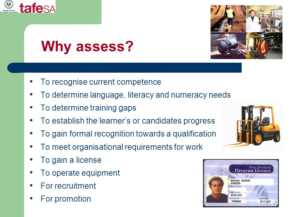 Why assess? To recognise current competence To determine language, literacy and numeracy needs To determine training gaps To establish the learners or