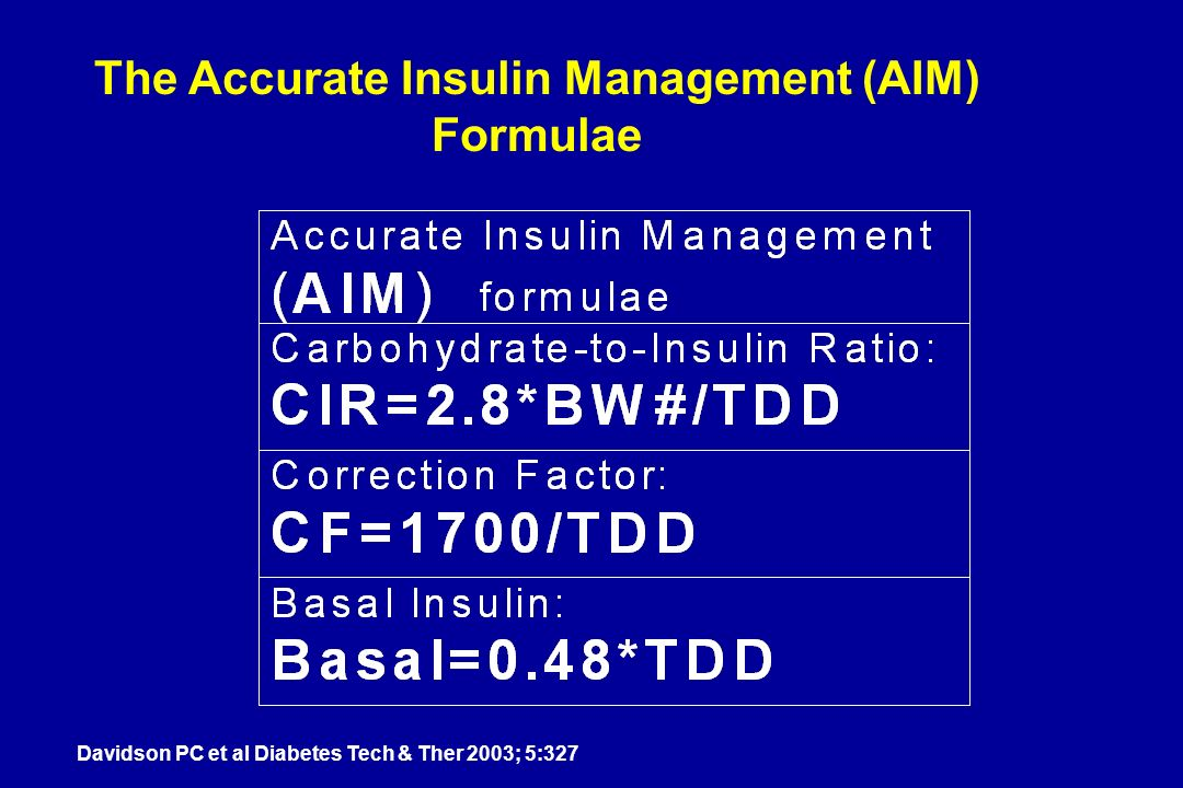 The Accurate Insulin Management (AIM) Formulae Davidson PC et al Diabetes Tech & Ther 2003; 5:327