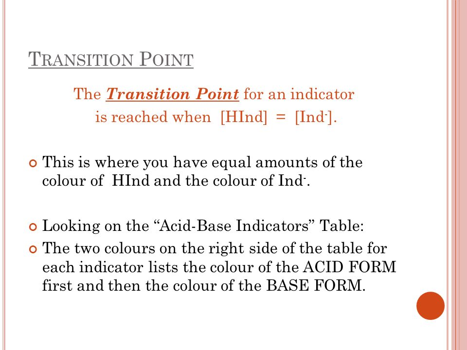 T RANSITION P OINT The Transition Point for an indicator is reached when [HInd] = [Ind - ]. This is where you have equal amounts of the colour of HInd