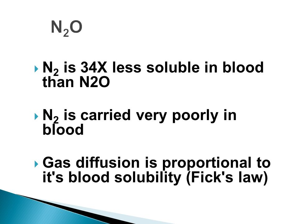 N2ON2O N 2 is 34X less soluble in blood than N2O N 2 is carried very poorly in blood Gas diffusion is proportional to it's blood solubility (Fick's la