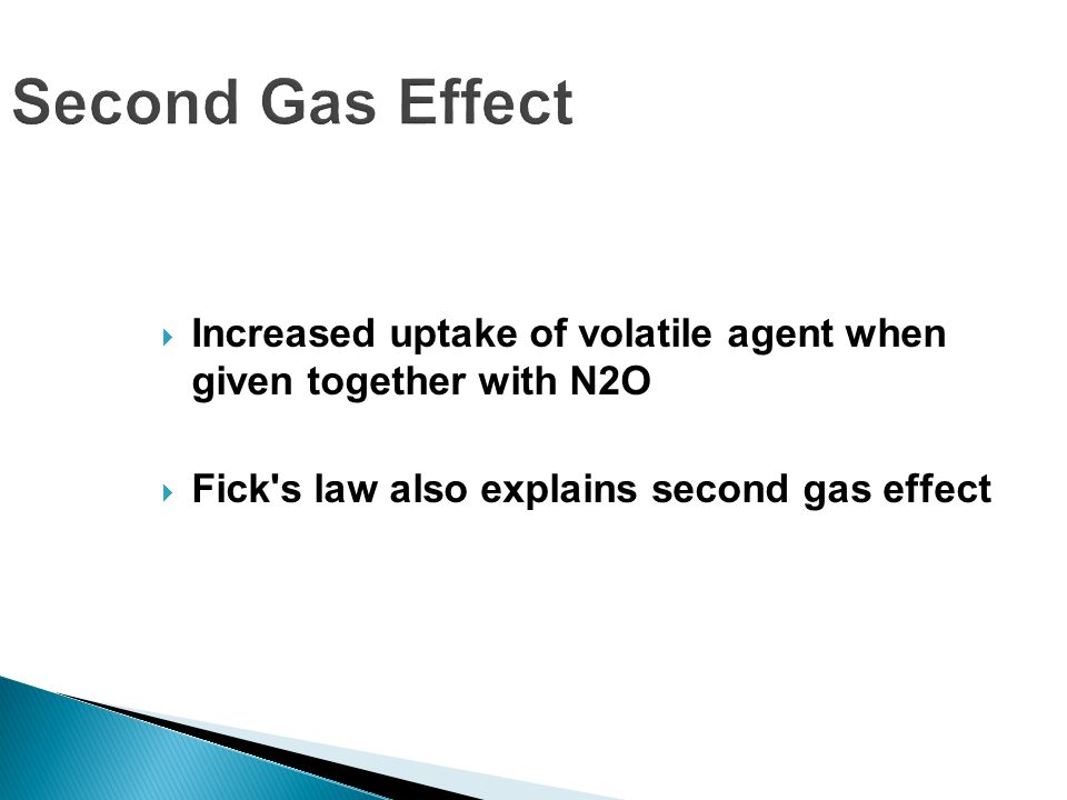 Second Gas Effect Increased uptake of volatile agent when given together with N2O Fick's law also explains second gas effect