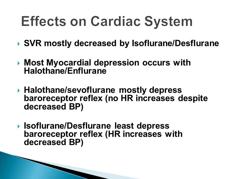 SVR mostly decreased by Isoflurane/Desflurane Most Myocardial depression occurs with Halothane/Enflurane Halothane/sevoflurane mostly depress barorece