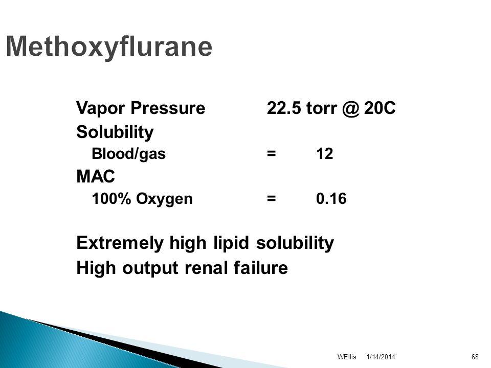 1/14/2014WEllis68 Methoxyflurane Vapor Pressure 22.5 torr @ 20C Solubility Blood/gas = 12 MAC 100% Oxygen = 0.16 Extremely high lipid solubility High