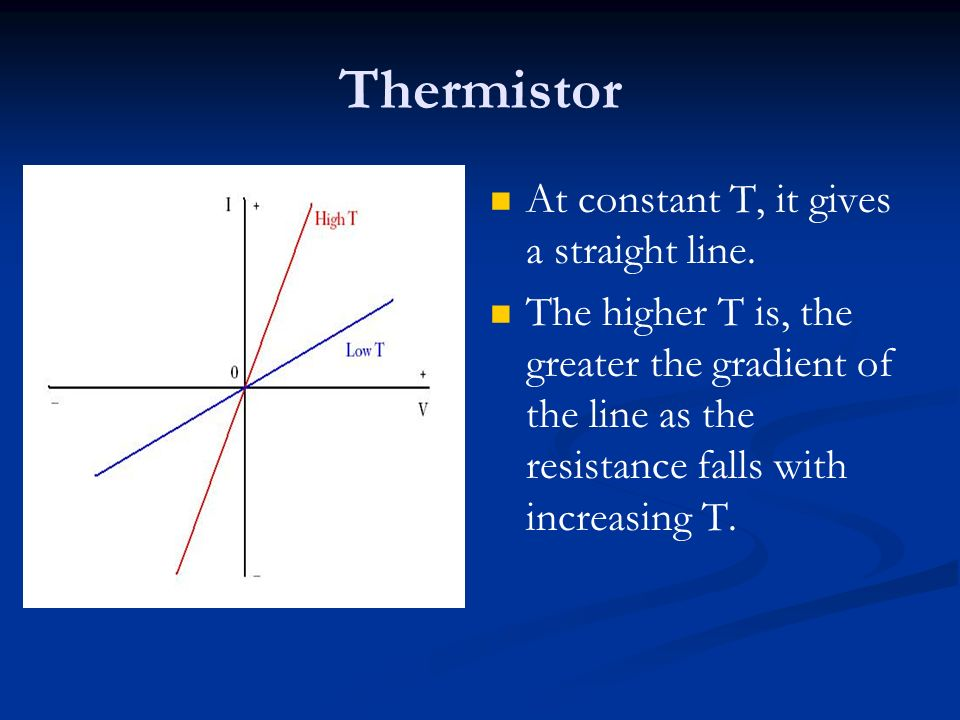 Thermistor At constant T, it gives a straight line. The higher T is, the greater the gradient of the line as the resistance falls with increasing T.