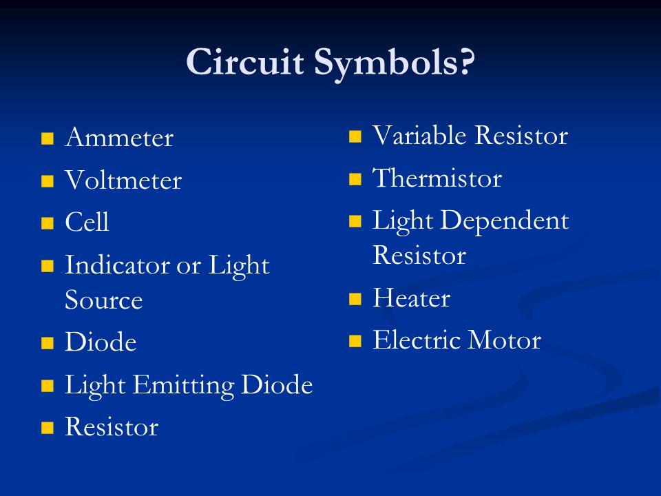 Circuit Symbols? Ammeter Voltmeter Cell Indicator or Light Source Diode Light Emitting Diode Resistor Variable Resistor Thermistor Light Dependent Res