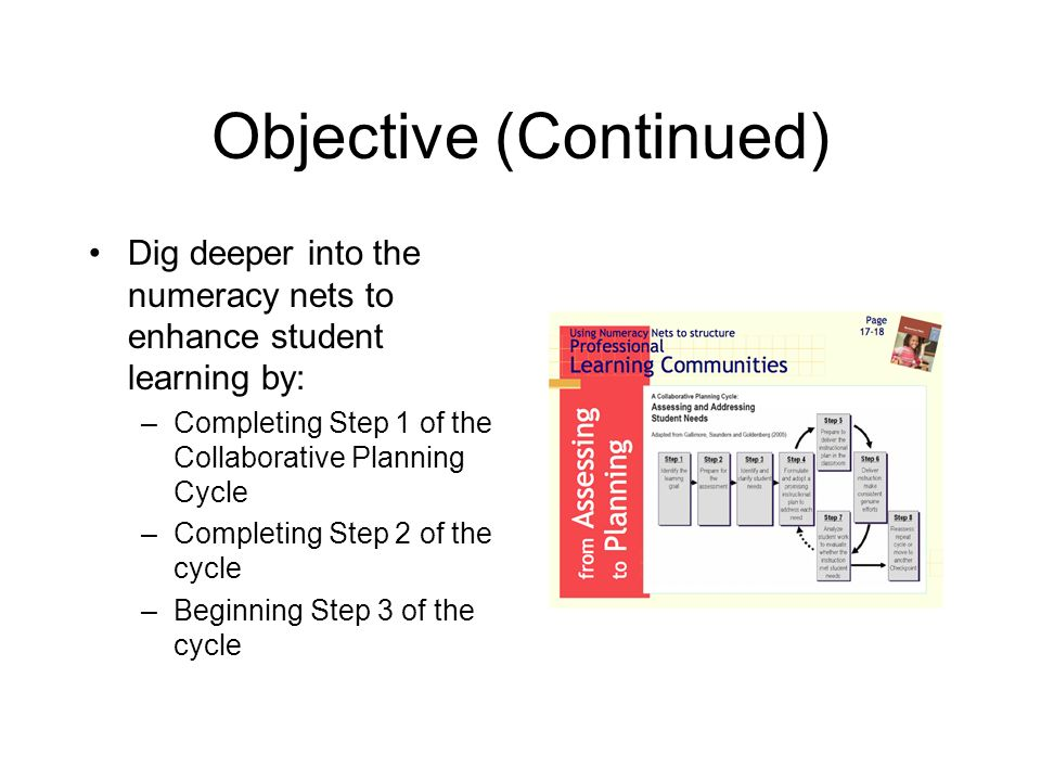 Objective (Continued) Dig deeper into the numeracy nets to enhance student learning by: –Completing Step 1 of the Collaborative Planning Cycle –Comple