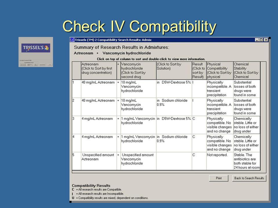 16 Check IV Compatibility