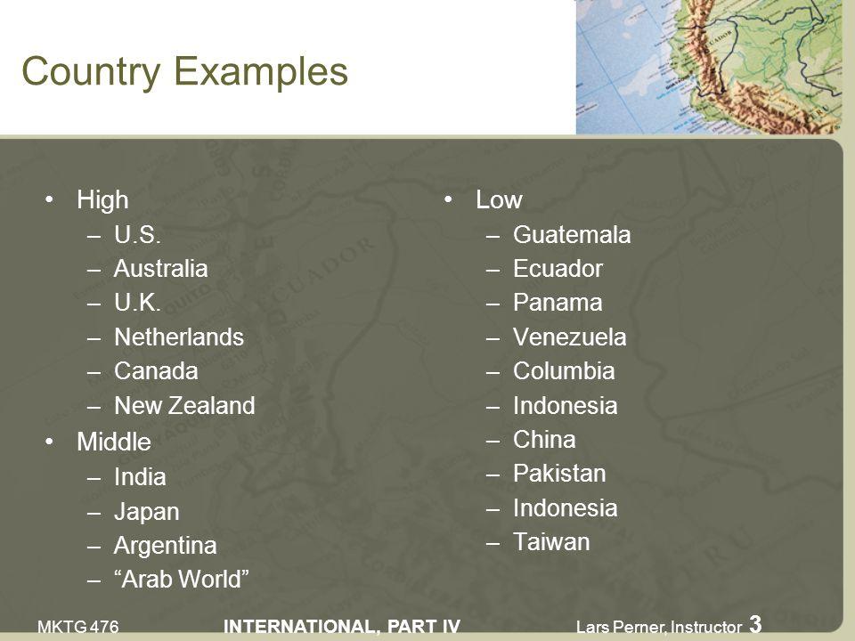 MKTG 476 INTERNATIONAL, PART IV Lars Perner, Instructor 3 Country Examples High –U.S.