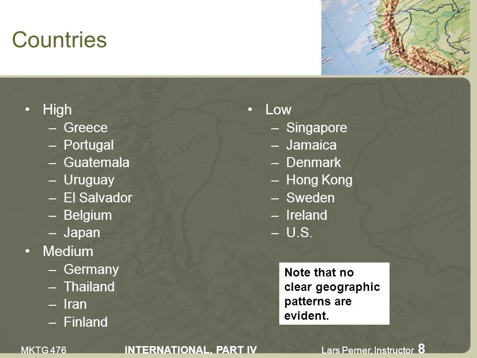 MKTG 476 INTERNATIONAL, PART IV Lars Perner, Instructor 8 Countries High –Greece –Portugal –Guatemala –Uruguay –El Salvador –Belgium –Japan Medium –Germany –Thailand –Iran –Finland Low –Singapore –Jamaica –Denmark –Hong Kong –Sweden –Ireland –U.S.