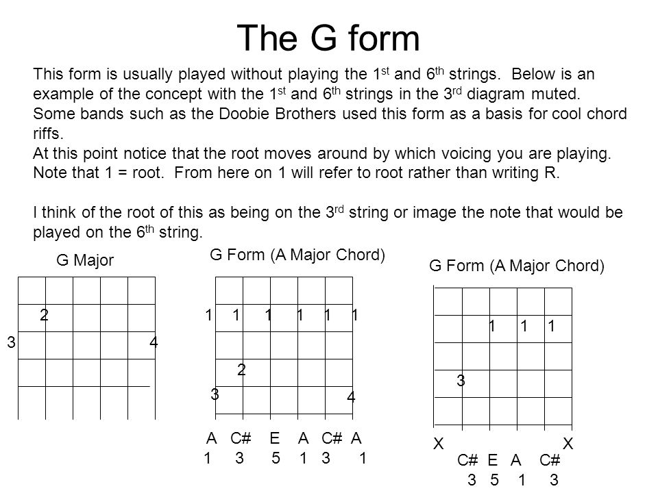 The G form 2 34 1 1 1 2 3 4 G Major G Form (A Major Chord) This form is usually played without playing the 1 st and 6 th strings. Below is an example
