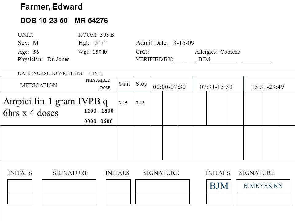 Farmer, Edward Dr. Jones DOB 10-23-50 MR 54276 ALLERGIES Codeine Height: 57 Weight: 150 lb DateTime PRESCRIBED TREATMENT, MEDICATION AND DIET TPN ORDE