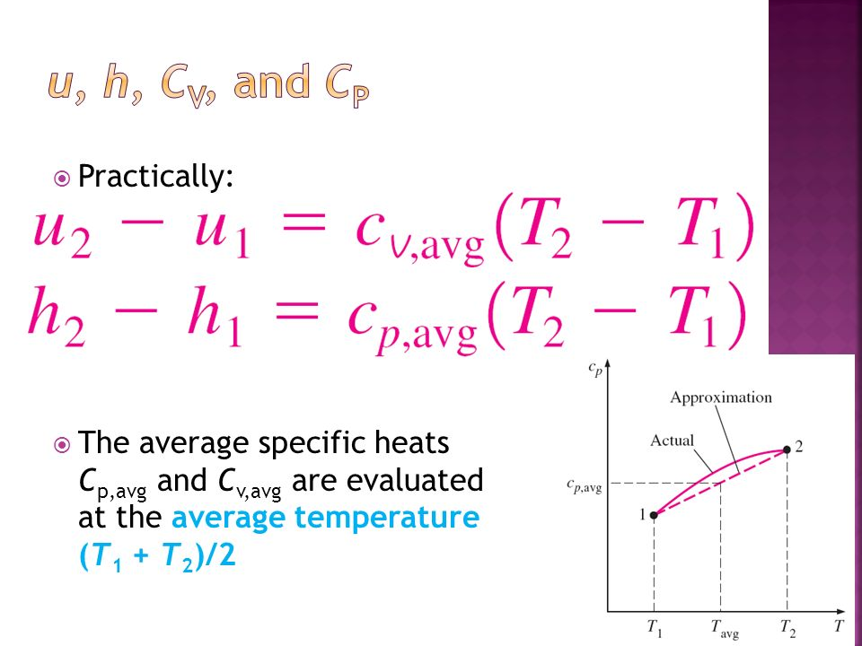 Practically: The average specific heats C p,avg and C v,avg are evaluated at the average temperature (T 1 + T 2 )/2