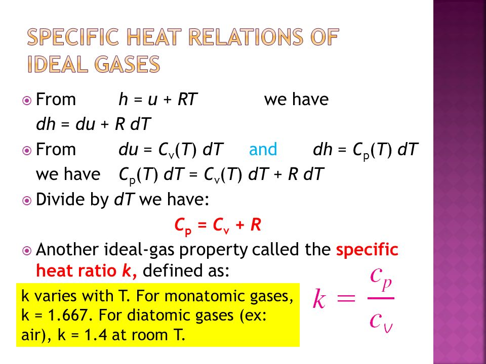 From h = u + RTwe have dh = du + R dT Fromdu = C v (T) dT and dh = C p (T) dT we have C p (T) dT = C v (T) dT + R dT Divide by dT we have: C p = C v + R Another ideal-gas property called the specific heat ratio k, defined as: k varies with T.