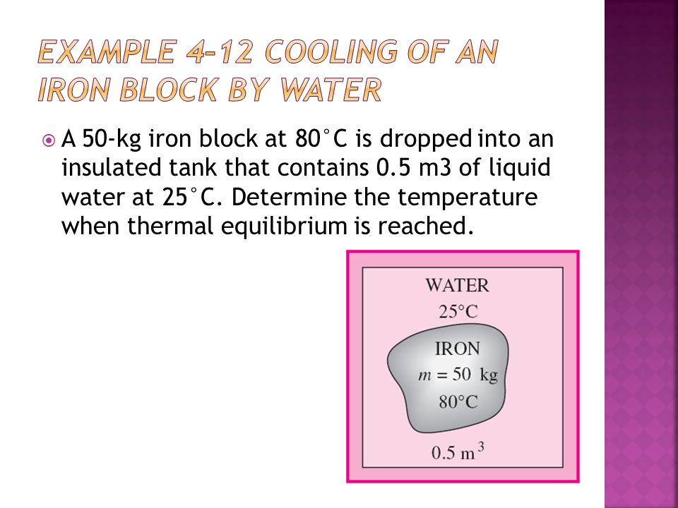 A 50-kg iron block at 80°C is dropped into an insulated tank that contains 0.5 m3 of liquid water at 25°C.