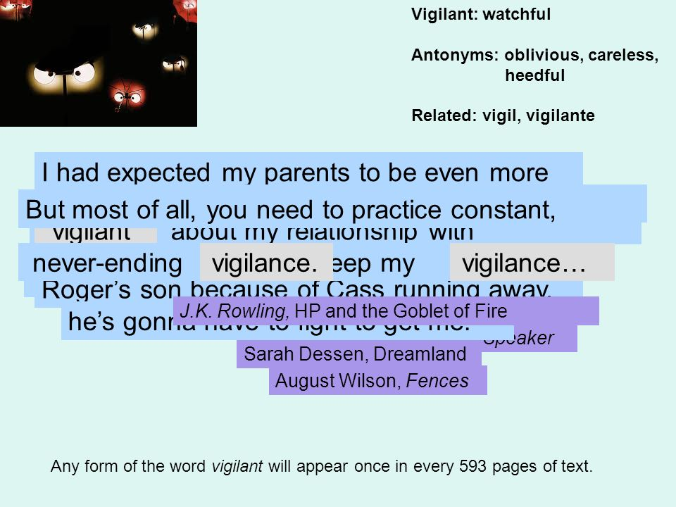 Vigilant: watchful Antonyms: oblivious, careless, heedful Related: vigil, vigilante Any form of the word vigilant will appear once in every 593 pages