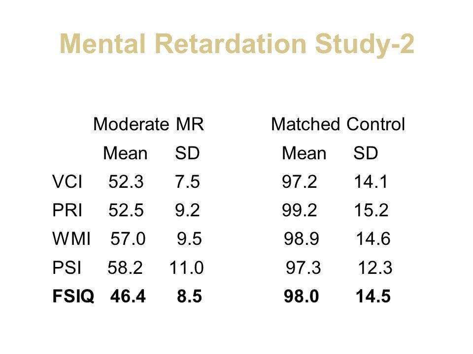 Mental Retardation Study-2 Moderate MR Matched Control Mean SD Mean SD VCI 52.3 7.5 97.2 14.1 PRI 52.5 9.2 99.2 15.2 WMI 57.0 9.5 98.9 14.6 PSI 58.2 1