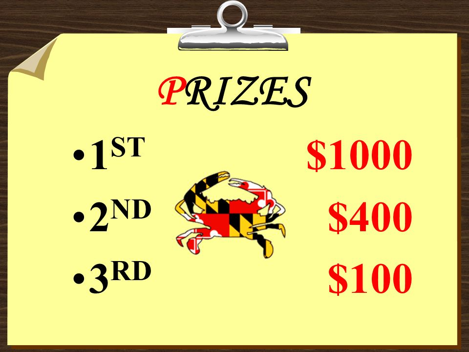 PRIZES 1 ST $1000 2 ND $400 3 RD $100