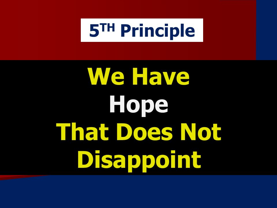 We Have Hope That Does Not Disappoint 5 TH Principle