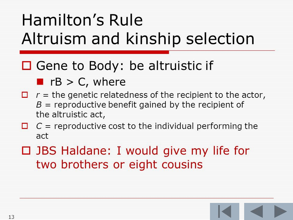 Hamiltons Rule Altruism and kinship selection Gene to Body: be altruistic if rB > C, where r = the genetic relatedness of the recipient to the actor, B = reproductive benefit gained by the recipient of the altruistic act, C = reproductive cost to the individual performing the act JBS Haldane: I would give my life for two brothers or eight cousins 13