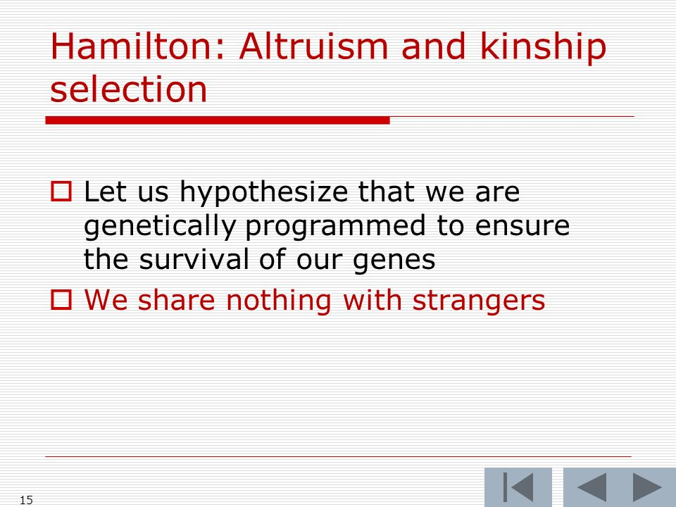 Hamilton: Altruism and kinship selection Let us hypothesize that we are genetically programmed to ensure the survival of our genes We share nothing with strangers 15
