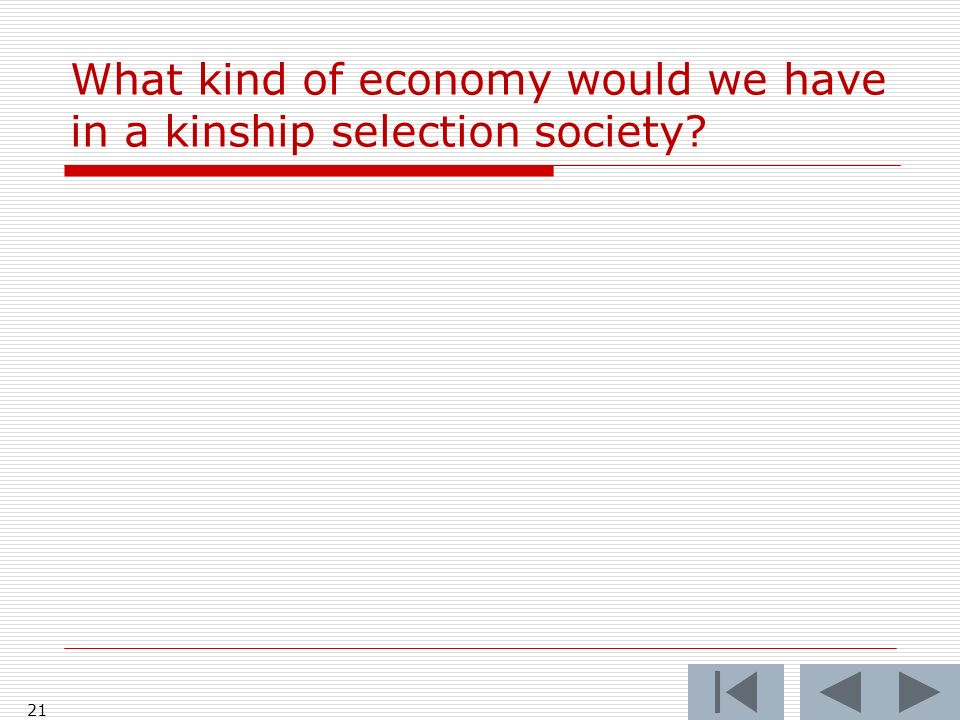 What kind of economy would we have in a kinship selection society? 21