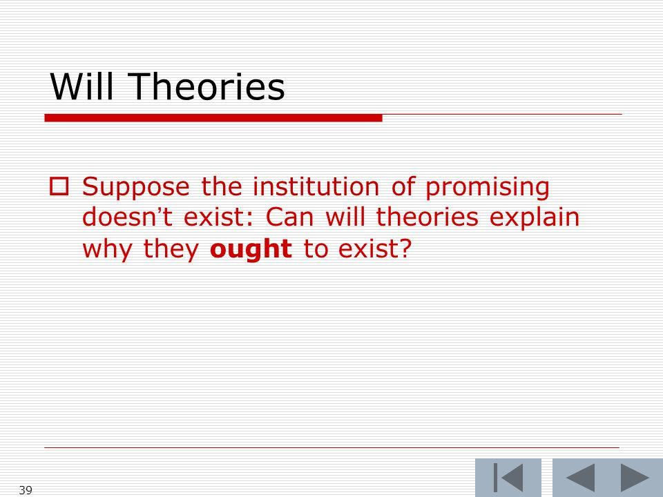 Will Theories Suppose the institution of promising doesnt exist: Can will theories explain why they ought to exist? 39