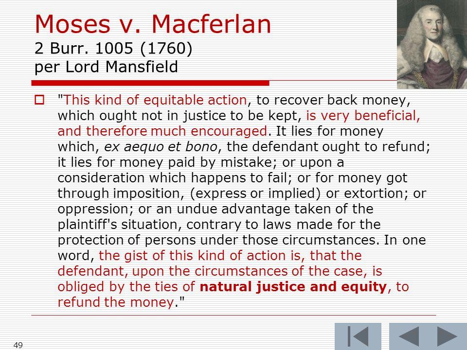 Moses v. Macferlan 2 Burr.
