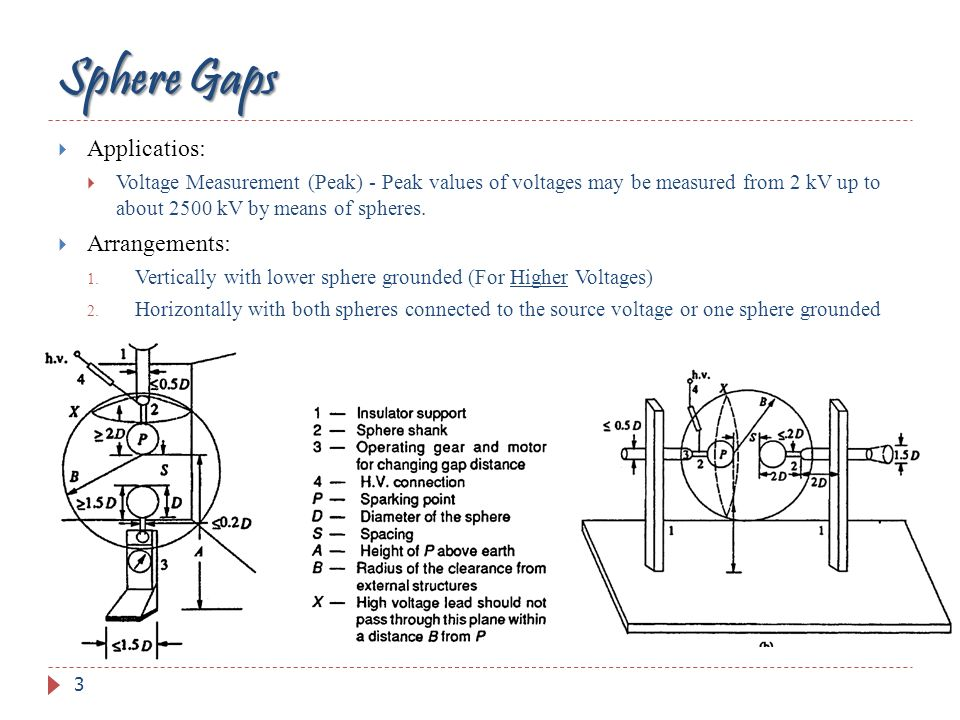 Sphere Gaps Applicatios: Voltage Measurement (Peak) - Peak values of voltages may be measured from 2 kV up to about 2500 kV by means of spheres. Arran