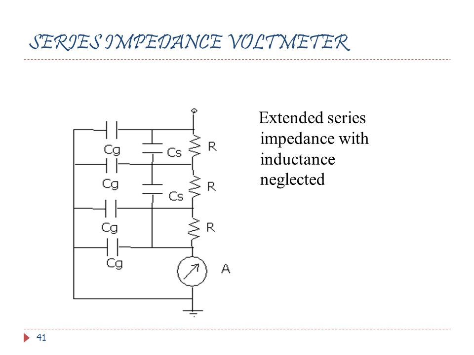 SERIES IMPEDANCE VOLTMETER 41 Extended series impedance with inductance neglected