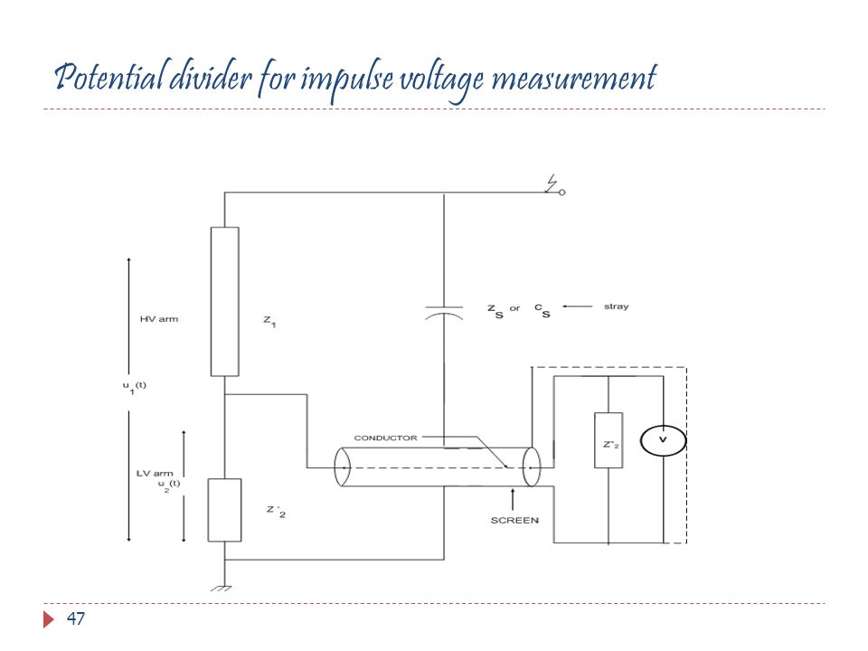 Potential divider for impulse voltage measurement 47
