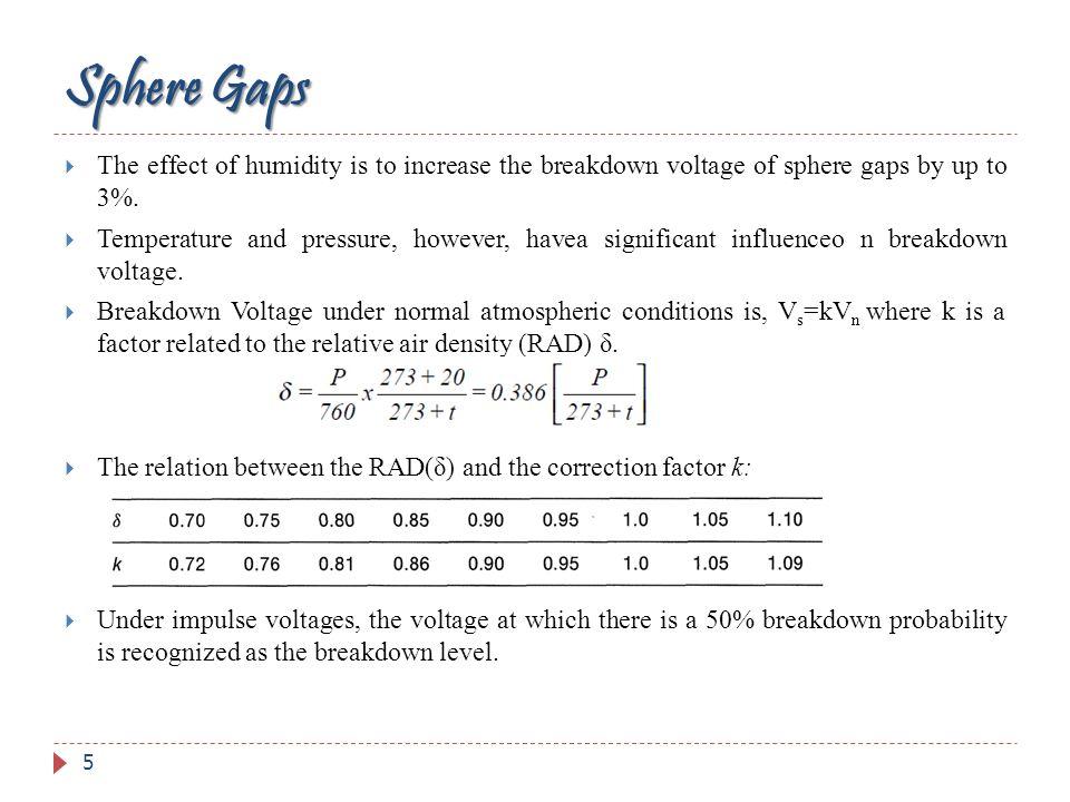 Factors Influencing the Sparkover Voltage of Sphere Gaps i.