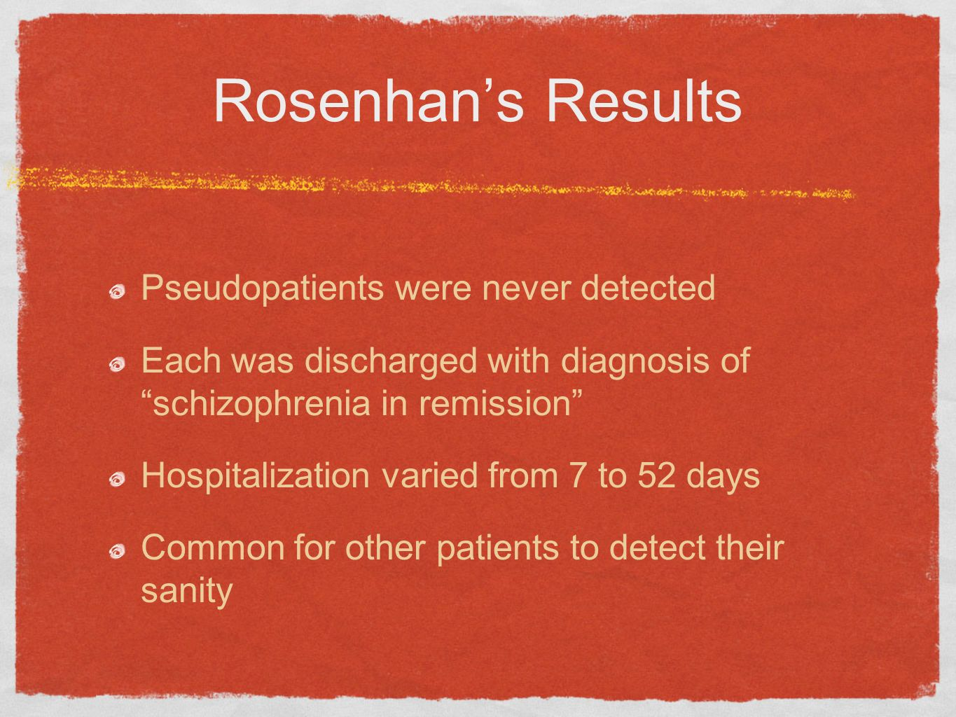 Rosenhans Results Pseudopatients were never detected Each was discharged with diagnosis of schizophrenia in remission Hospitalization varied from 7 to