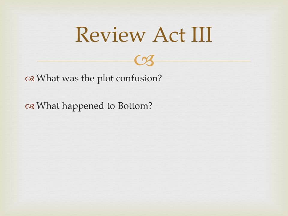 What was the plot confusion What happened to Bottom Review Act III